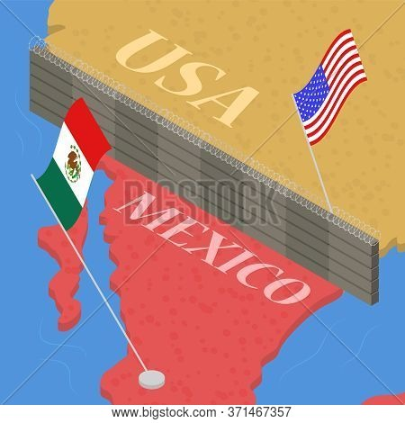 Border Wall Between Mexico And The United States Of America Immigration And Emigration Concept 3d Is