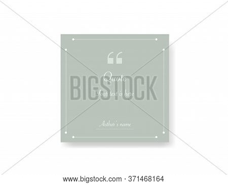 Quote Frame Template. Remark Massage With Comma Icon. Quotation Mockup In Mint Green Color In Square