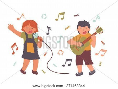 People Sing A Song With A Guitar Sing Illustration