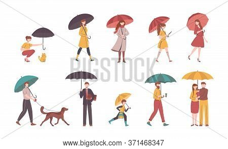 Cartoon Color Characters People Holding Umbrella Set Concept Flat Design Style With Lineart Elements