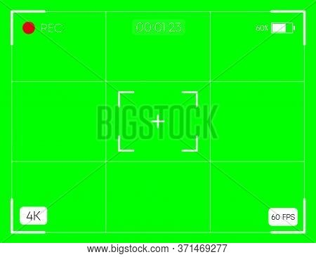 Camera Horizontal Viewfinder Template On Green Background. 4k Video Recording Screen. Vector