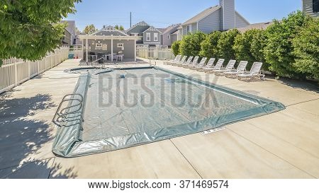Panorama Frame Covered Swimming Pool In Winter Day Light