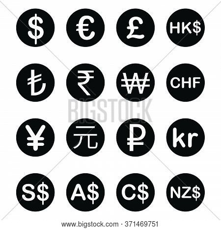 Various Currency Fx Money Signs And Symbols With Descriptions. Black Illustration Isolated On A Whit