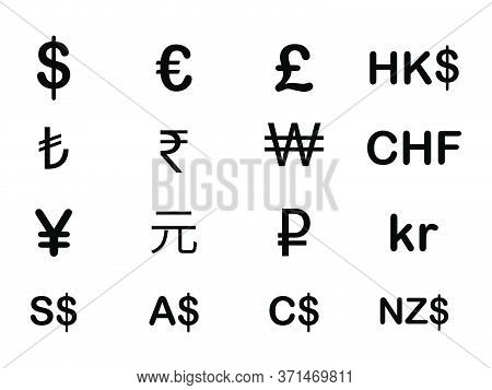 Various Currency Fx Money Signs And Symbols. Usd Eur Gbp Hkd Try Inr Krw Chf Jpy Cny Rub Sek Nok Sgd