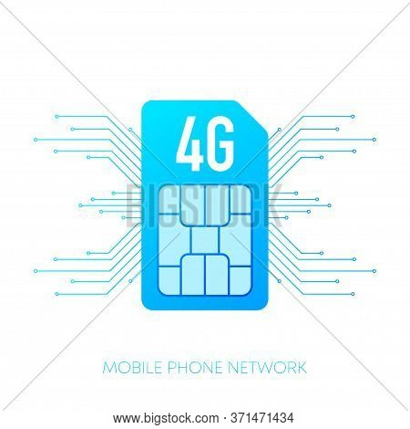 Mobile Phone Network 4g Logo Sim Card On Gradient Abstract Background. Vector