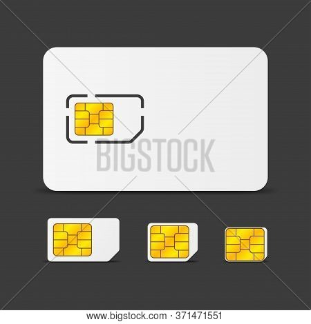 Realistic Global Phone Sim Card With Different Emv Chips. Nfc Chip For Credit Card Security Isolated