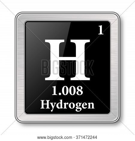 Hydrogen Symbol.chemical Element Of The Periodic Table On A Glossy Black Background In A Silver Fram
