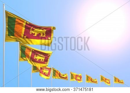 Pretty Many Sri Lanka Flags Placed Diagonal On Blue Sky With Place For Content - Any Holiday Flag 3d