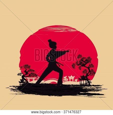Woman Make Karate Kick Abstract Design , Vector Illustration