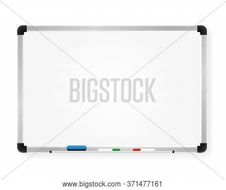 Whiteboard For Markers. Presentation, Empty Projection Screen. Office And Study Tool Isolated On Whi