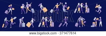 Different People Travel On Vacation. Tourists With Laggage Travelling With Family, Friends And Alone