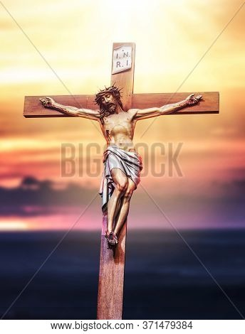 Jesus Christ Crucifixion. Holy God Jesus Sacrifice On Cross. Christianity Symbol. 3d Rendering