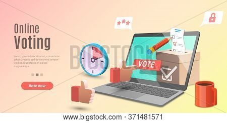 3d Concept Of Online Voting App, E-voting, Internet Election System.