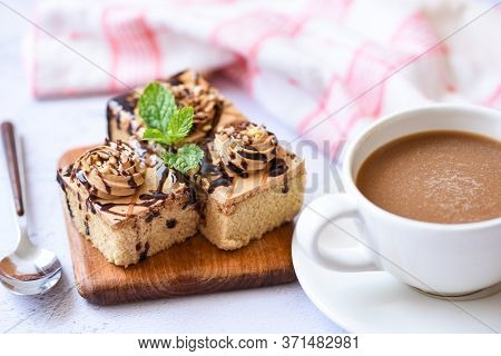 Coffee Cake Delicious Dessert Served On The Table / Cake Chocolate Slice On Wooden Board Background