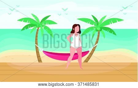 Girl Is Relaxing On The Beach Art