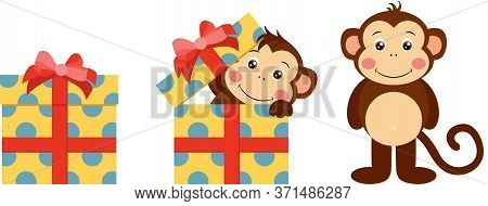 Scalable Vectorial Representing A Cute Monkey Going Out Of Yellow Gift With Red Ribbon Bow, Element