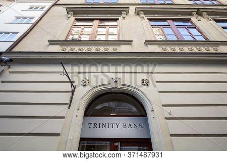 Brno, Czechia - November 4, 2019: Trinity Bank Logo In Front Of Their Main Office For Brno. Trinity