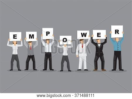 Illustration Of Business Man And Woman Holding White Board Cards Title Empower. Full Length On Grey