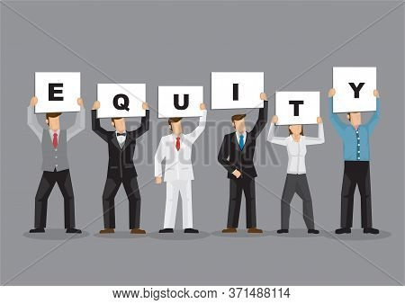 Illustration Of Business Man And Woman Holding White Board Cards Title Equity. Full Length On Grey B