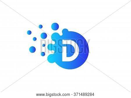 Letter D Bubbles Logo Template. Vector Brand Name Design. Dots Letter D Logo. D Letter Design Vector