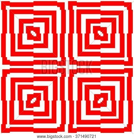 Red Repeated Stylized Squares On White Background. Quadrangles Wallpaper. Seamless Surface Pattern D