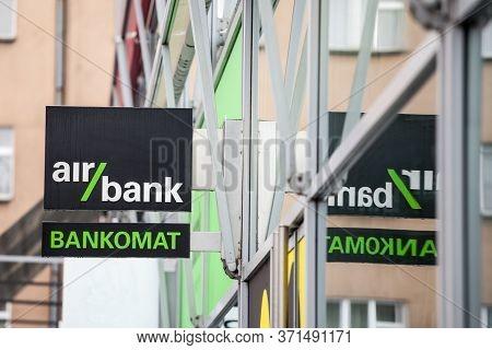 Prague, Czechia - November 2, 2019: Air Bank Logo  In Front Of Their Main Atm For Prague. Part Of Pp