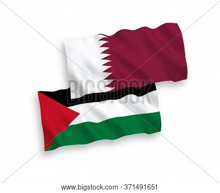 National Fabric Wave Flags Of Qatar And Palestine Isolated On White Background. 1 To 2 Proportion.