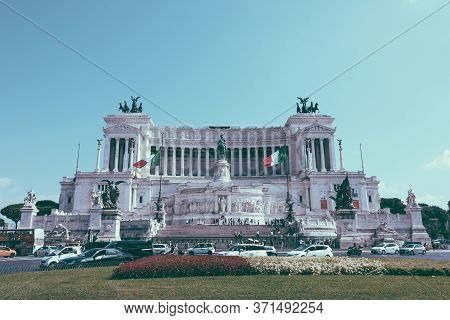 Rome, Italy - July 3, 2018: : Panoramic Front View Of Museum The Vittorio Emanuele Ii Monument Also