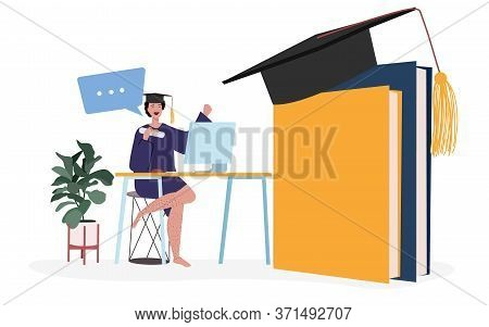 Online Graduation Participant Characters. Woman Wearing Toga In Front Computer Following Graduation