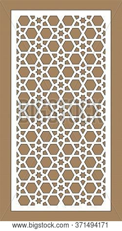 Arabic Cnc Vector Panel. Laser Cutting. Template For Interior Partition In Arabic Style. Ratio 1 To