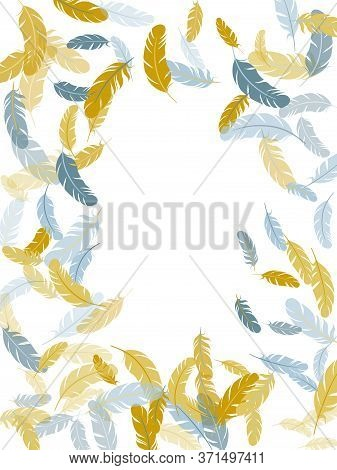 Cute Silver Gold Feathers Vector Background. Easy Plumelet Ethnic Indian Graphics. Plumage Bohemian