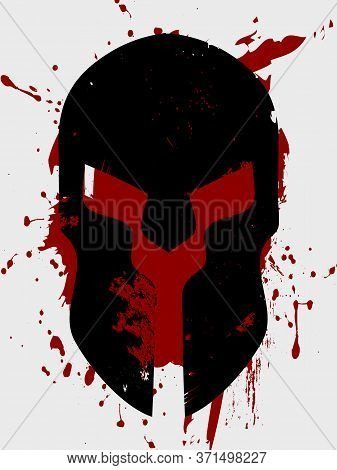 Grunge Abstract Black Spartan Helmet Silhouette Over White And Red Grunge Background