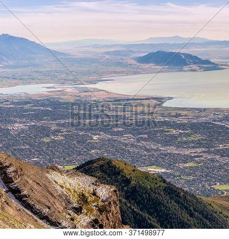 Square Frame Panorama Of Utah Lake And Utah Valley