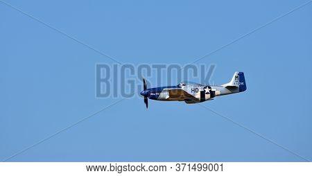 Little  Gransden,  Cambridgeshire, England - August 25, 2019:  North American P-51d Mustang Aircraft