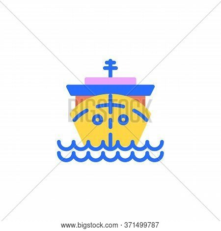 Cruise Ship Flat Icon, Vector Sign, Cargo Ship Colorful Pictogram Isolated On White. Cruise Travel S