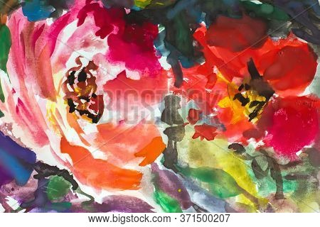 Abstract Flowers Pattern. Painting Painting Impressionism. Texture Painting. Abstract Flowers. Illus