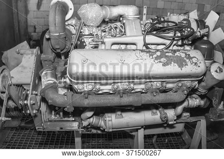 Diesel Engine Close-up. Work Item. Diesel Fuel Equipment