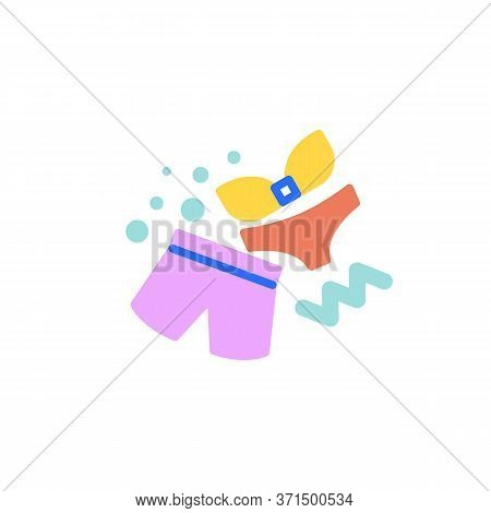Swimsuit Flat Icon, Vector Sign, Male Short And Female Bikini Colorful Pictogram Isolated On White.