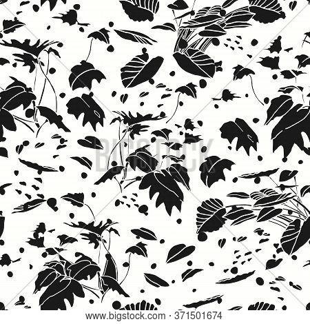 Modern Exotic Jungle Leaf Dot Pattern. Tropical Botanical Leaf, Cut Out Design On White Dotted Backg