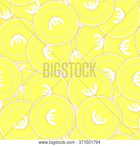 European Union Euro Gold Coins Seamless Pattern. Surprising Scattered Yellow Eur Coins. Success Conc
