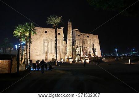 Luxor / Egypt - 28 Feb 2017: Ancient Karnak Temple In Luxor At Night, Egypt