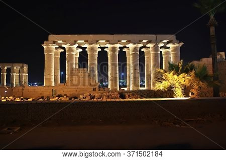 Ancient Luxor Temple In Luxor City At Night, Egypt