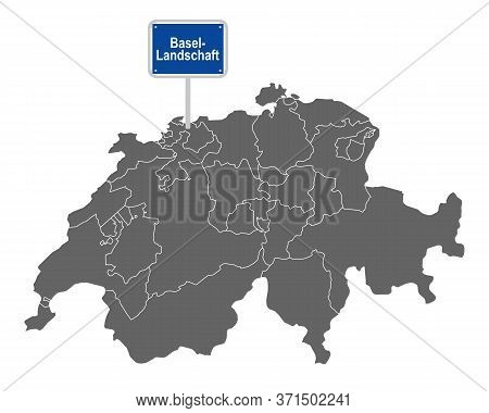 Detailed And Accurate Illustration Of Map Of Switzerland With Road Sign Of Basel-landschaft