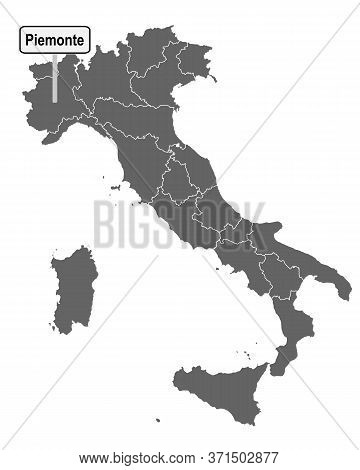 Detailed And Accurate Illustration Of Map Of Italy With Road Sign Of Piemonte