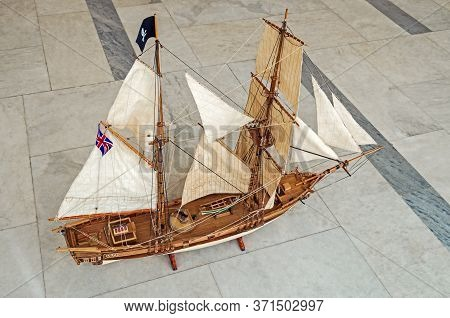 Model Of A Small Two-masted Sailing Vessel Fast And Maneuverable On Which Pirates Plunder