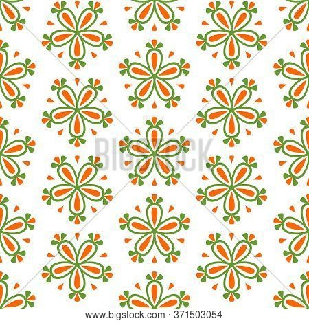 Tile Green, White And Orange Seamless Vector Floral Background For Decoration Or Wallpaper Or Backgr