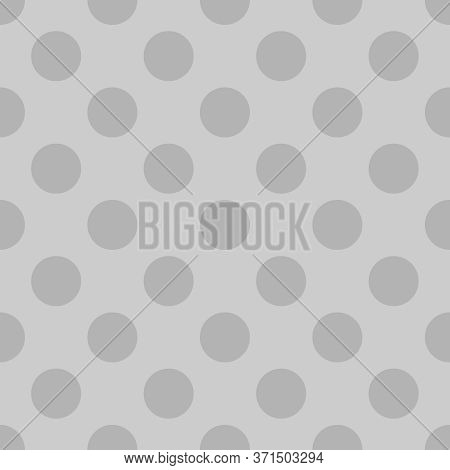 Seamless Vector Pattern With Grey Polka Dots On Pastel Light Grey Background. For Web Design, Blog,