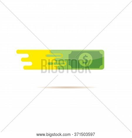 Fast Dollar, Fast Money Transfer Flat Icon Vector Isolated On White. Fast Exchange Logo