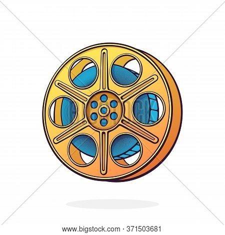 Film Stock. Vintage Camera Reel. Movie Industry. Old Cinema Strip. Retro Storage Of Analog Video Inf