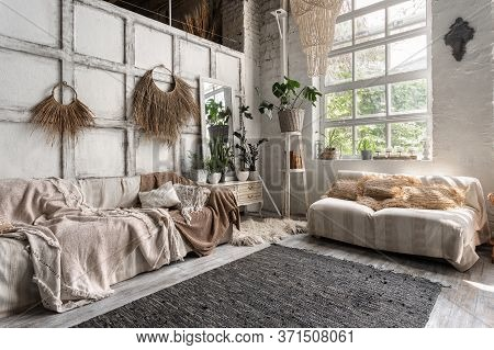Side View Of Living Room With Stylish Interior Design, Couch, Cushions, Textile Plaid, House Decor A